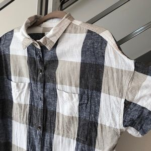 Old Navy Plaid Linen Shirtdress